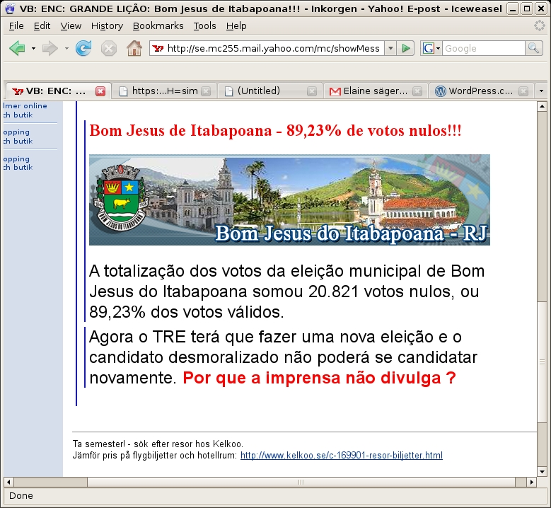 Bom Jesus de Itabapoana - 89,23% de votos nulos!!!