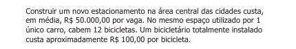 comparações de custos: vaga de carro ou bicicleta