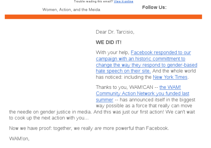 As mulheres e os homens que apoiam as mulheres, juntas, são mais fortes que Facebook