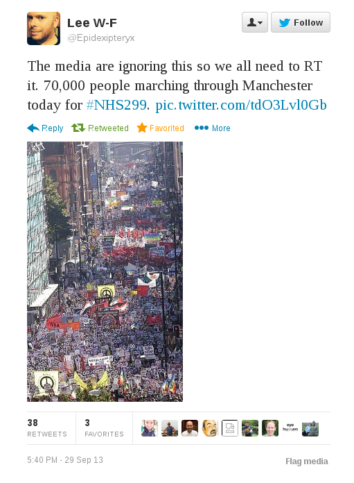 The media are ignoring  70,000 people marching through Manchester