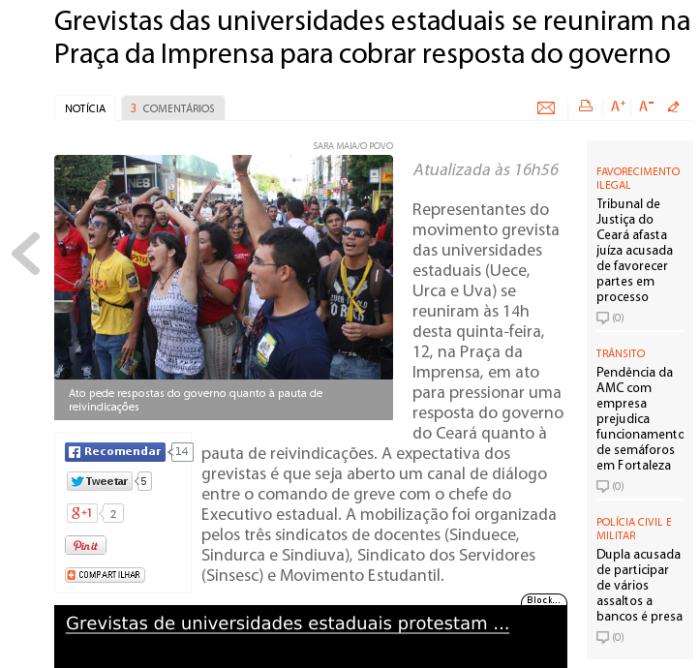 Manifestação das professores e estudantes  Cearenses na Praça da Imprensa