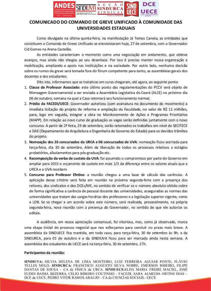 Nota do comandos de greve das universidades estaduais cearenses