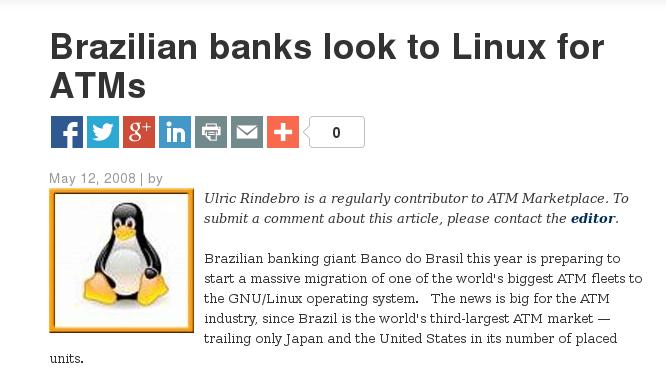 Banco do Brasil usa Gnu/Linux