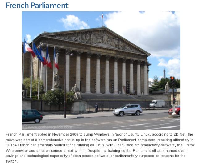 Neste caso, o parlamento Francês, confesso que fiquei surpreso