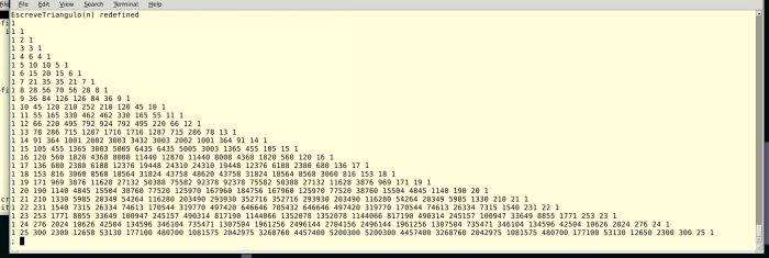 O triângulo de Pascal até a linha de ordem 25