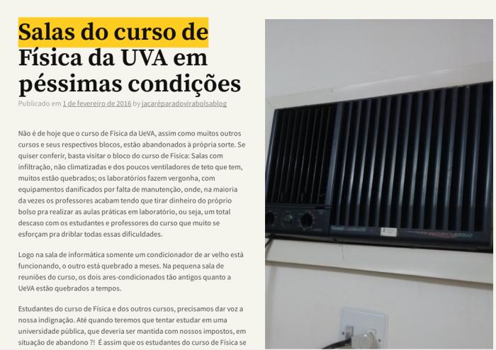 Ar condicionado do Gabinete do Governador colocado por engano em sala do Curso de Física da UeVA - em Sobral - Ceará