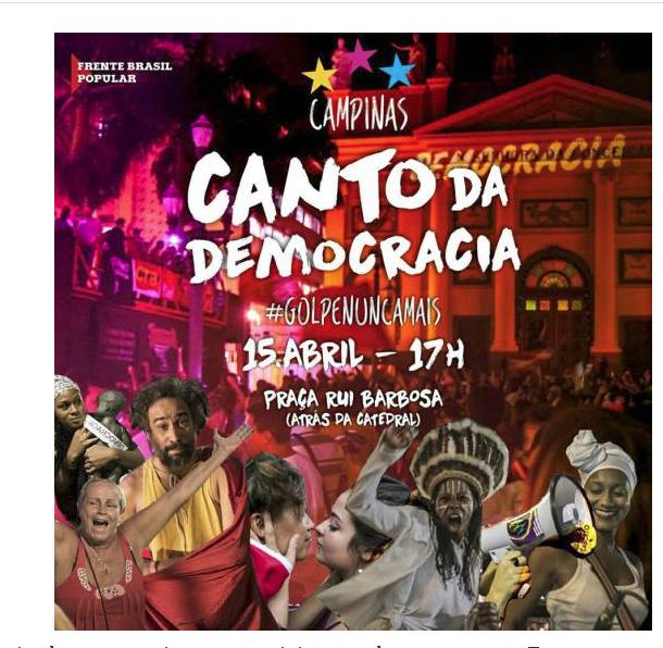 É a voz e o canto da poesia e da demcracia que vai ecotar de ponto a ponta do Brasil
