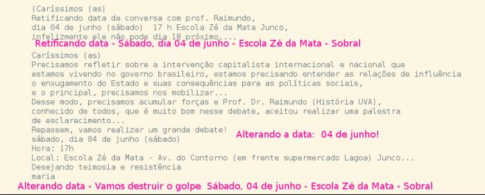 Mudou a data, agora é no dia 04 de junho 04 de junho, Escola Zé da Mata 17:00