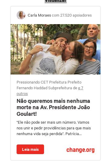Não queremos mais nenhuma morte na Av. Presidente João Goulart e em nenhuma outra avenida ou rua
